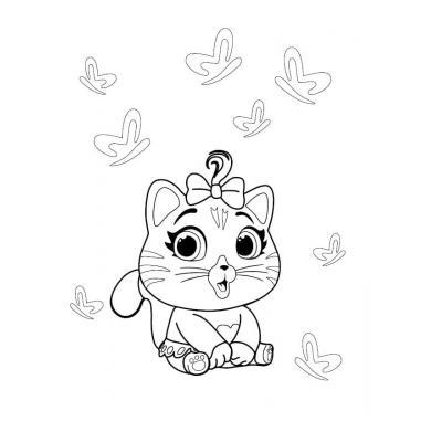 Распечатать раскраску 44 котёнка
