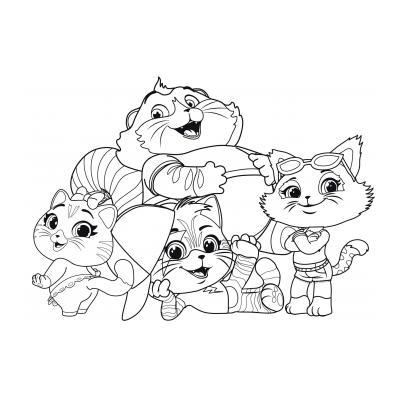 Раскраска из мультика 44 котенка