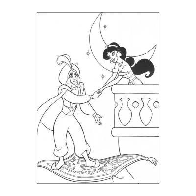 """Раскраски """"Алладин и Жасмин"""" (из мультфильма) - распечатать, скачать бесплатно"""