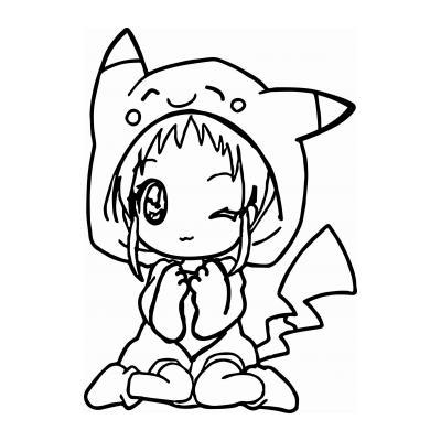 Распечатать картинку с животным аниме для раскрашивания