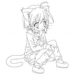 Раскраска аниме котики девочки