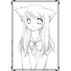Распечатать раскраску котиков - аниме