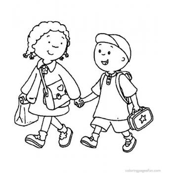 Школа - раскраска для детей(back-to-school-coloring-pages-walking-to-school)