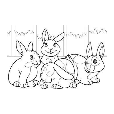 Распечатать раскраску с зайцем