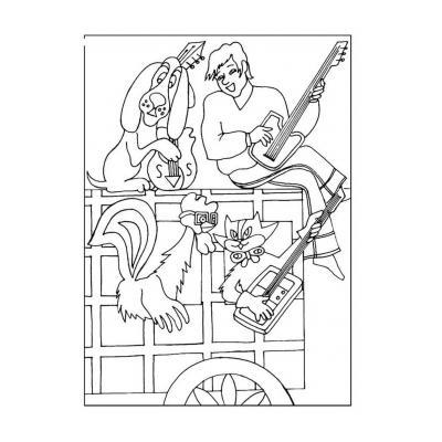 Раскраска Бременские музыканты - распечатать, скачать бесплатно