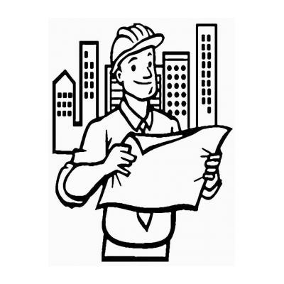 Раскраска профессия Строитель - распечатать, скачать бесплатно