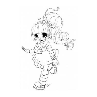 Раскраска - рисунок для девочки Чиби