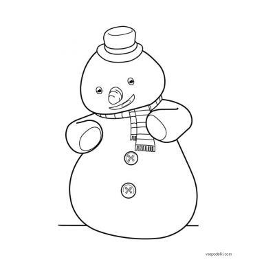 Раскраска Снеговик для детей