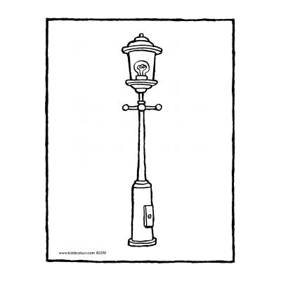 Раскраска уличный фонарь
