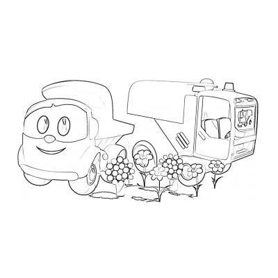 Раскраска с Лёвой грузовичком