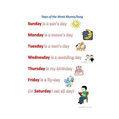 Задание на дни недели на аглийском языке