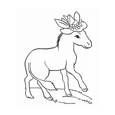 Распечатать раскраску с осликом