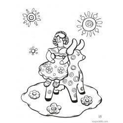 Дымковская игрушка - раскраска для детей  - распечатать, скачать бесплатно