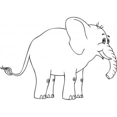 Распечатать раскраску со слоном