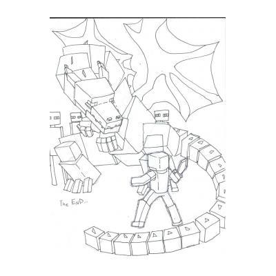 Раскраска Эндер Дракон из Майнкрафт