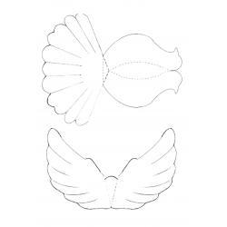 трафарет голубя с туловищем и крыльями отдельно