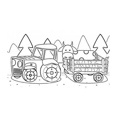 Напечатать и раскрасить синий трактор