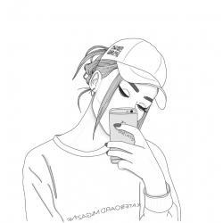 Девушка с айфоном раскраска