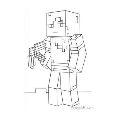 Майнкрафт - раскраска для девочки