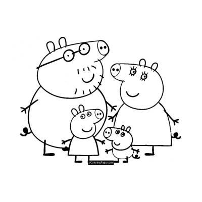 Новогодние раскраски семьи Свинов
