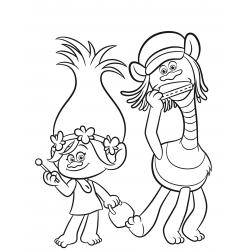Раскраска Розочка из мультфильма про Троллей - распечатать, скачать бесплатно