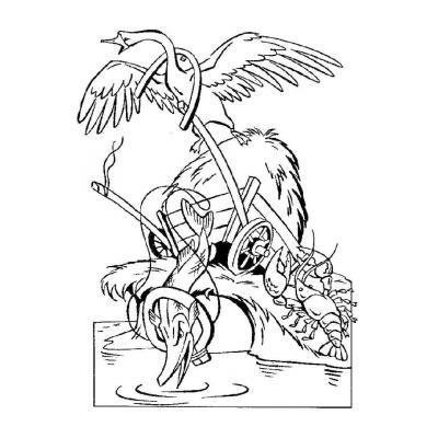 Раскраска Лебедь, Рак и Щука - распечатать, скачать бесплатно
