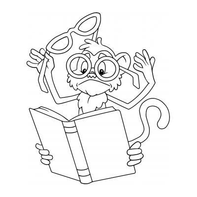 Раскраска Мартышка и очки - распечатать, скачать бесплатно