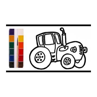 Разукрашка синий трактор
