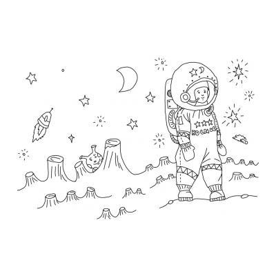 раскраска космос для дошкольников