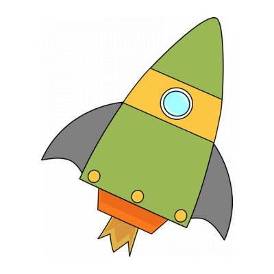 Раскраска ракета для детей 2 лет
