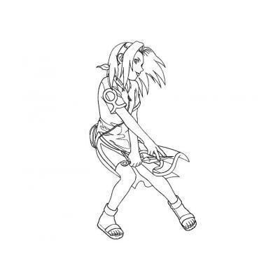 Раскраска Сакура аниме Наруто