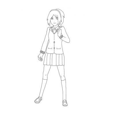 Раскраска Сакура из аниме Наруто