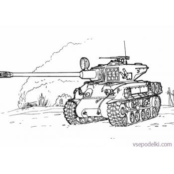 Раскраска Танки из World of tanks(sherman-m-51-coloring-page)