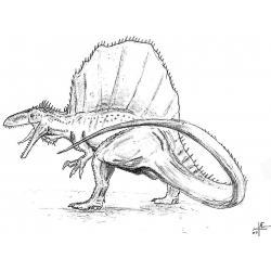 Распечатать раскраску со спинозавром