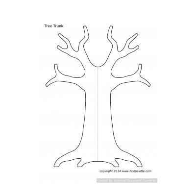 Простой трафарет дерева для детей