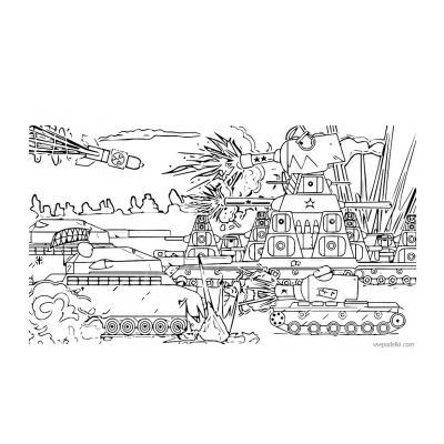 Раскраска танк из мультфильма