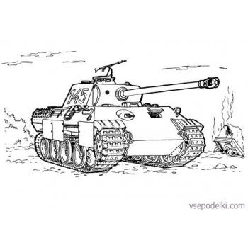 Раскраска Танки из World of tanks(tank-panther-coloring-page)