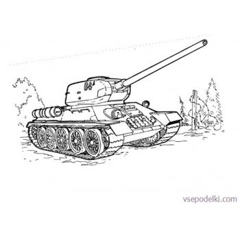 Раскраска Танки из World of tanks(tank-t-34-coloring-page)