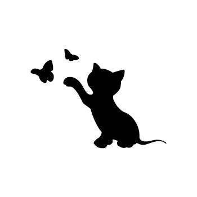 Трафарет кошка на стену