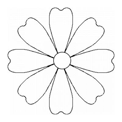 Шаблон розы с листьями