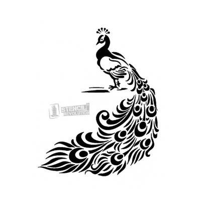 Трафарет птица на ветке