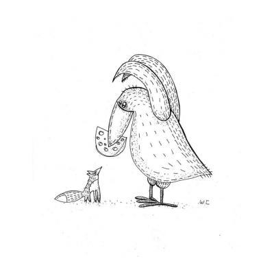 Раскраска Ворона и лисица (к басне Крылова) - распечатать, скачать бесплатно