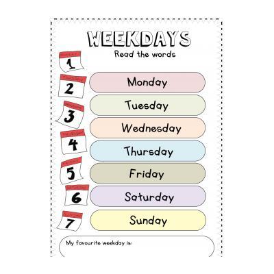 Упражнение для 4 класса на дни недели по ангийскому