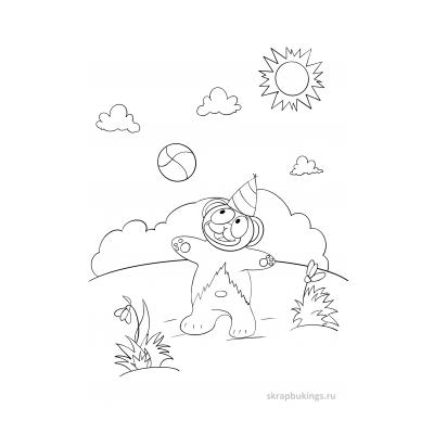 Черно-белая раскраска с Медведем Валерой