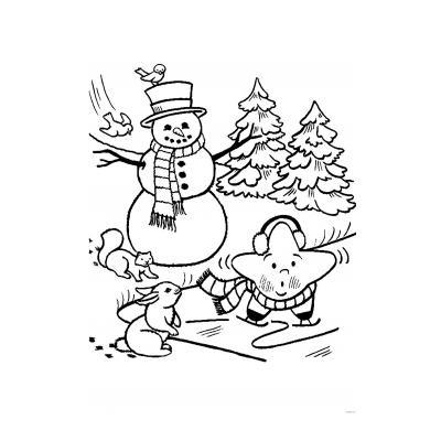 Новогодняя раскраска Снеговик